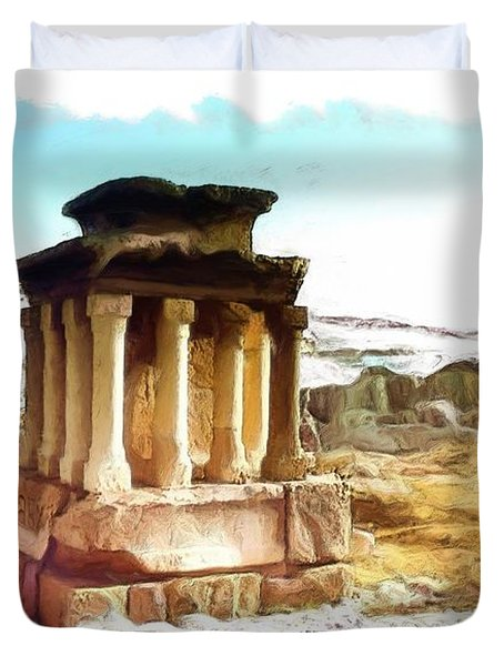 Do-00432 The Temple Of Faqra Duvet Cover