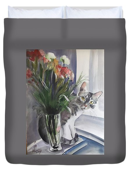 Do You See Me? Pet Portrait In Watercolor .modern Cat Art With Flowers  Duvet Cover