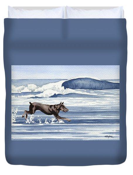 Doberman At The Beach  Duvet Cover by David Rogers