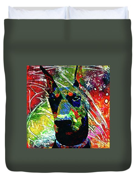 Doberman Custom Portrait Duvet Cover
