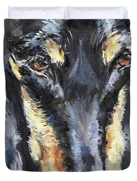 Doberman Oil Painting Duvet Cover