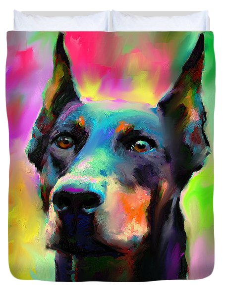 Doberman Pincher Dog Portrait Duvet Cover