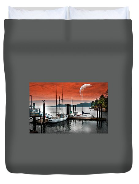 Dock And The Moon Duvet Cover