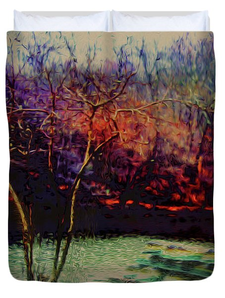 Duvet Cover featuring the photograph Dock At Central Park by Sandy Moulder