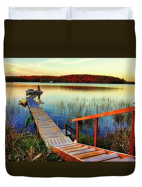 Dock At Gawas Bay Duvet Cover
