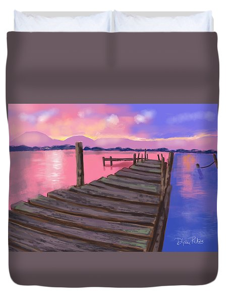 Dock At Sunset Duvet Cover