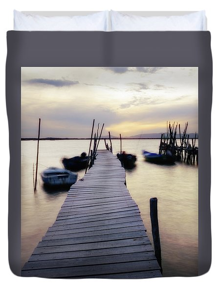 Dock At Sunset Duvet Cover by Marion McCristall