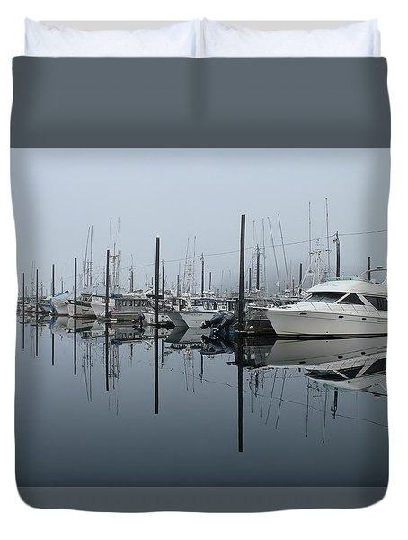 Dock Foggy Morning Duvet Cover
