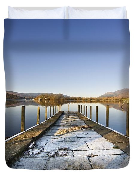 Dock In A Lake, Cumbria, England Duvet Cover by John Short