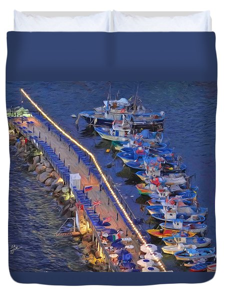 Dock Of The Bay Duvet Cover by TK Goforth