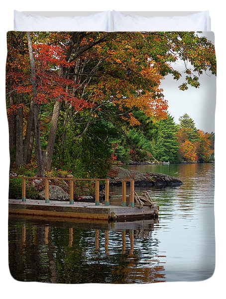 Dock On Lake In Fall Duvet Cover