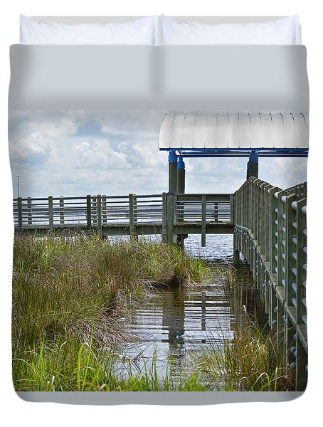 Dock On The Bay 1 Duvet Cover by Cathy Jourdan