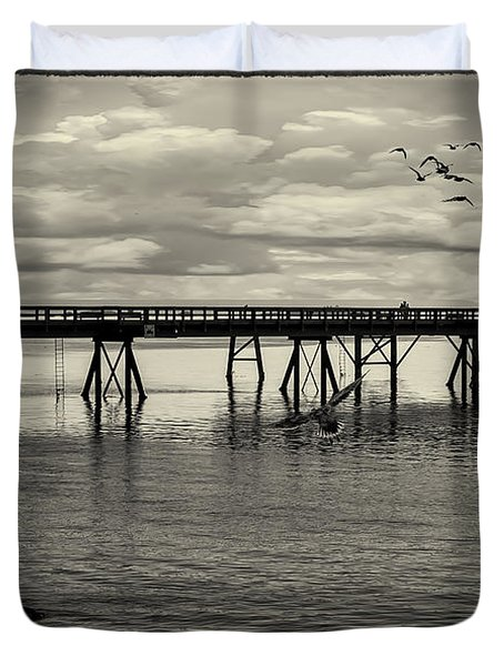 Dock On The Sea Duvet Cover