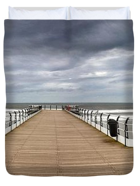 Dock With Benches, Saltburn, England Duvet Cover by John Short