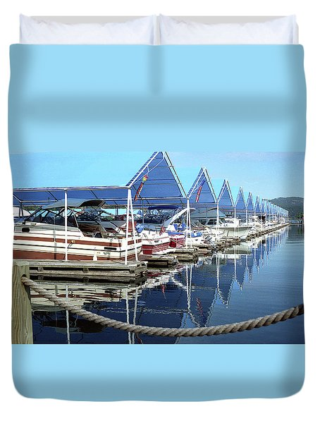 Duvet Cover featuring the photograph Docked Boats by Emanuel Tanjala