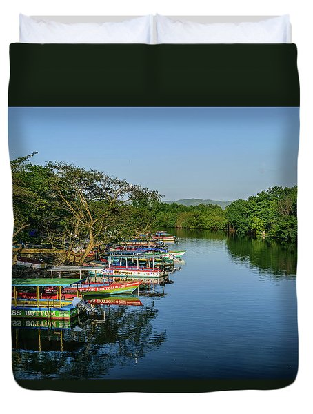 Boats By The River Duvet Cover
