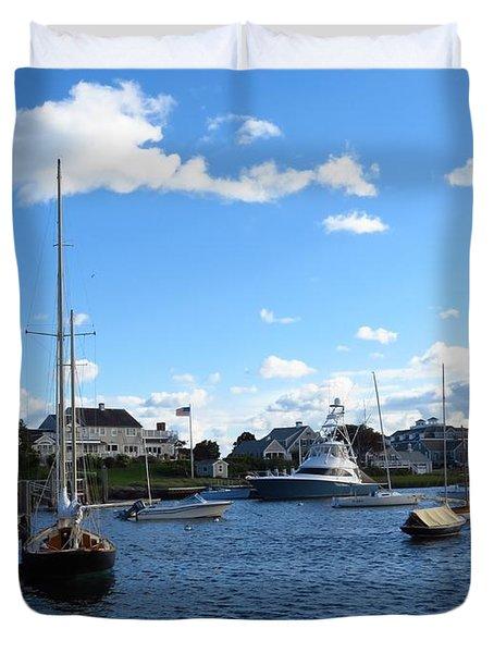 Docked In The Harbor Duvet Cover