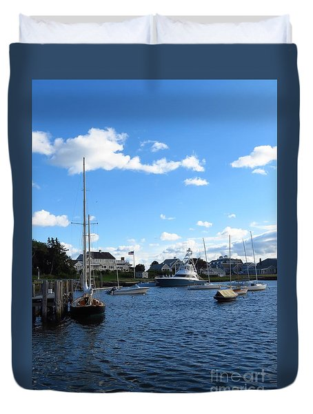 Docked In The Harbor Duvet Cover