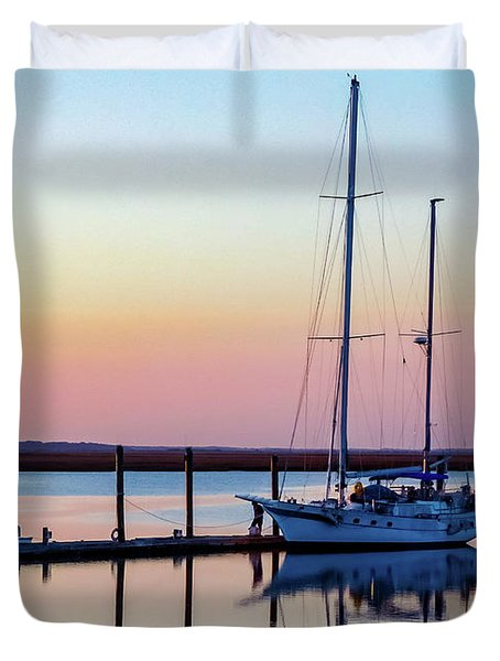 Docked On Jekyll Island Duvet Cover
