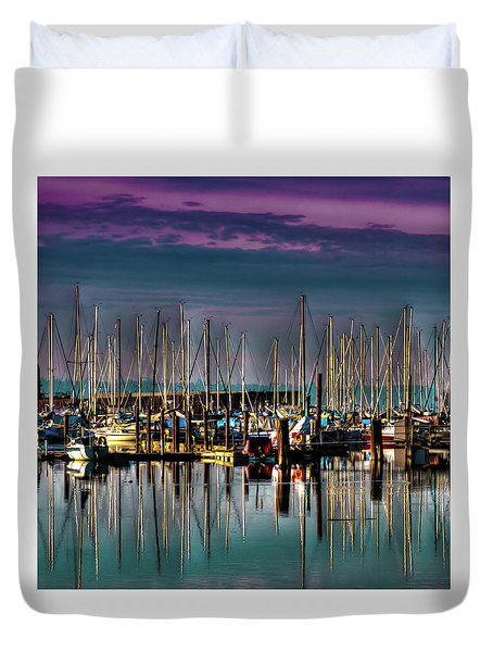 Docked Sailboats Duvet Cover by David Patterson