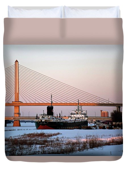 Docked Under The Glass City Skyway  Duvet Cover
