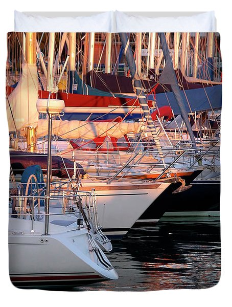 Docked Yatchs Duvet Cover by Carlos Caetano