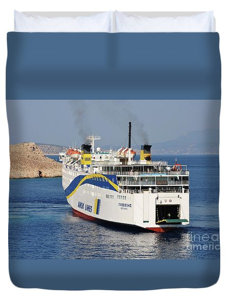 Docking Ferry On Halki Duvet Cover