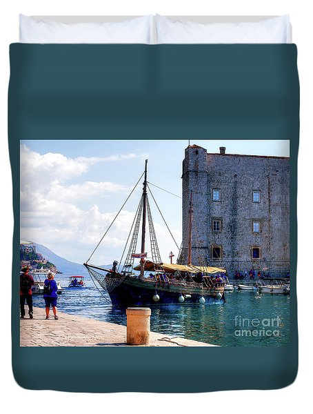 Docking In Dubrovnik Harbour Duvet Cover