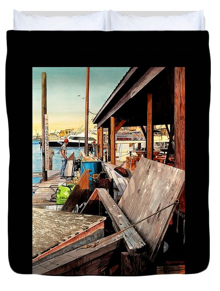 Docks At Port Aransas Duvet Cover
