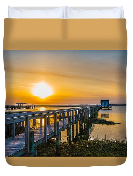 Docks At Sunset I Duvet Cover