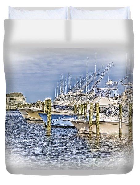 Docks In Manteo Duvet Cover