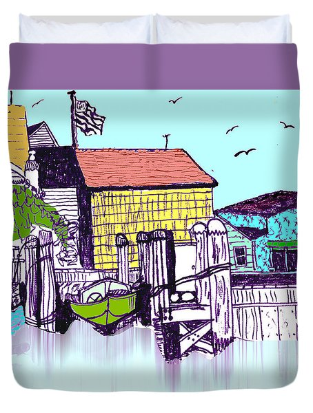 Dockside - Watercolor Sketch Duvet Cover