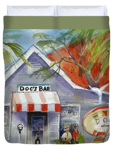 Docs Bar Tybee Island Duvet Cover