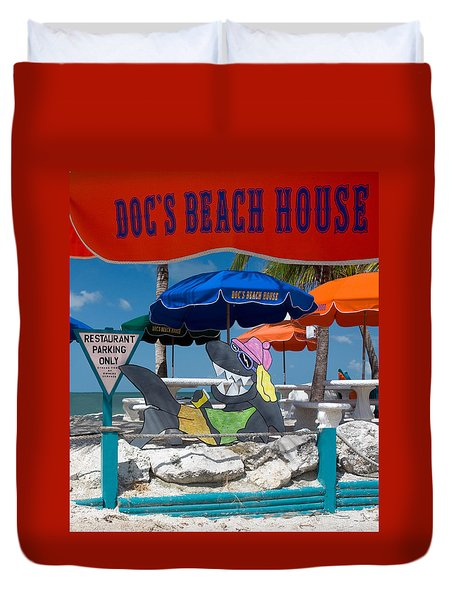 Doc's Beach House On Bonita Beach Duvet Cover
