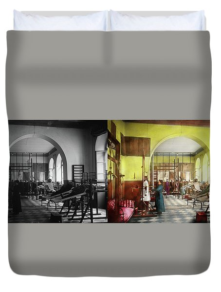 Duvet Cover featuring the photograph Doctor - Physical Therapist - Welcome To The A Traction 1918 - Side By Side by Mike Savad