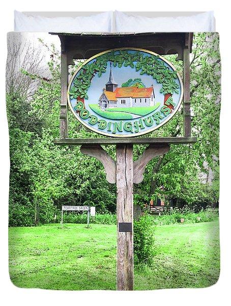 Doddinghurst Village Sign Duvet Cover