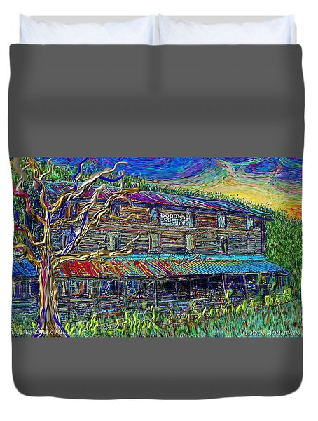Duvet Cover featuring the painting Dodds Creek Mill, ,floyd Virginia by Hidden Mountain
