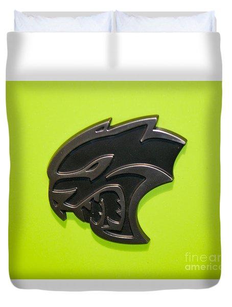 Dodge Challenger Srt Hellcat Emblem Duvet Cover