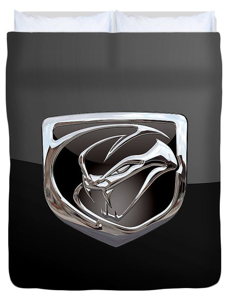Dodge Viper - 3d Badge On Black Duvet Cover