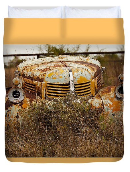 Duvet Cover featuring the photograph Dodgin' Work by Toni Hopper