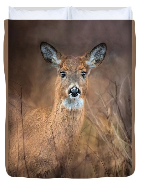 Duvet Cover featuring the photograph Doe A Deer by Robin-Lee Vieira