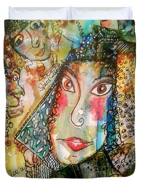 Duvet Cover featuring the mixed media Doe Eyed Girl And Her Spirit Guides by Mimulux patricia no No