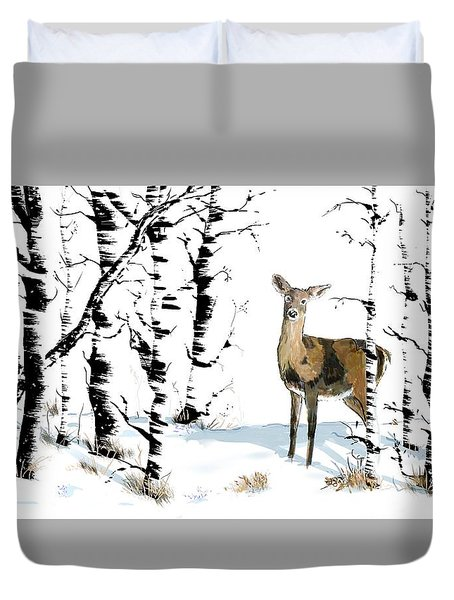 Doe In The Birch Trees Duvet Cover
