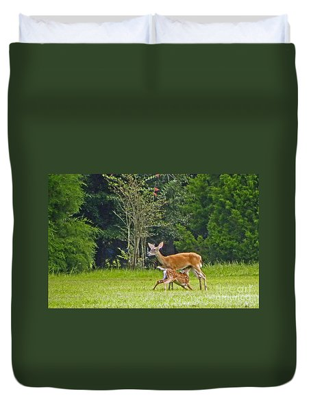 Duvet Cover featuring the photograph Doe Nursing Fawn by Terri Mills