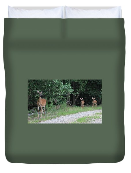 Doe With Twins Duvet Cover