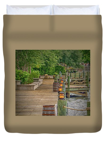 Down By The Boardwalk Duvet Cover