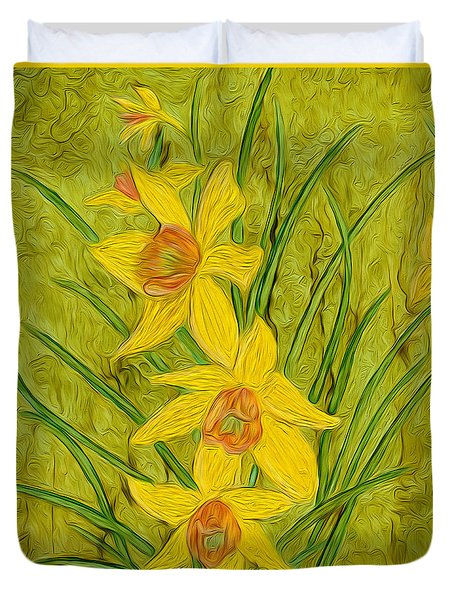 Daffodils Too Duvet Cover