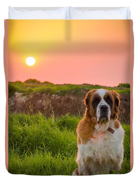 Dog And Sunset Duvet Cover