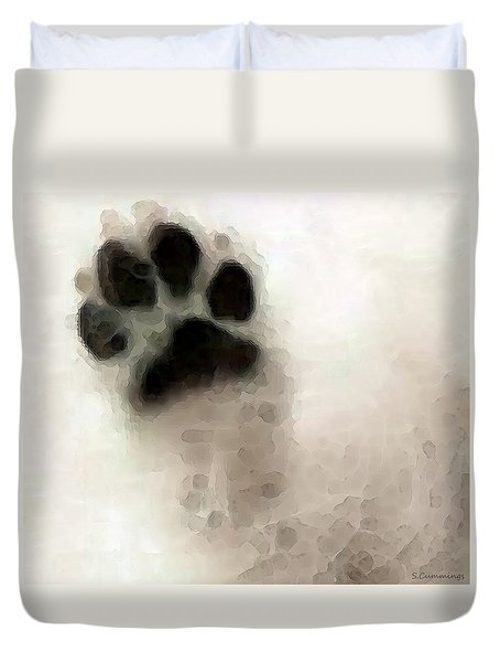 Dog Art - I Paw You Duvet Cover by Sharon Cummings