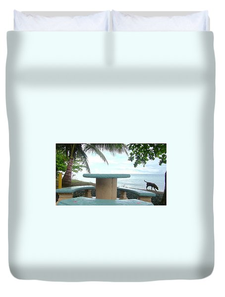 Dog By The Beach In Rincon Duvet Cover